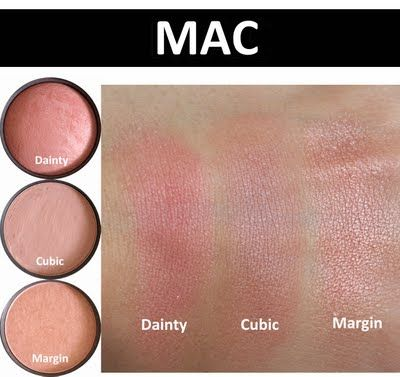 Favourite Blushes from MAC- Dainty Mineralized, Cubic, Margin