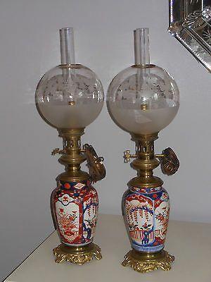 Belle Paire De Lampe A Petrole Bronze Et Porcelaine Imari Avec Globe