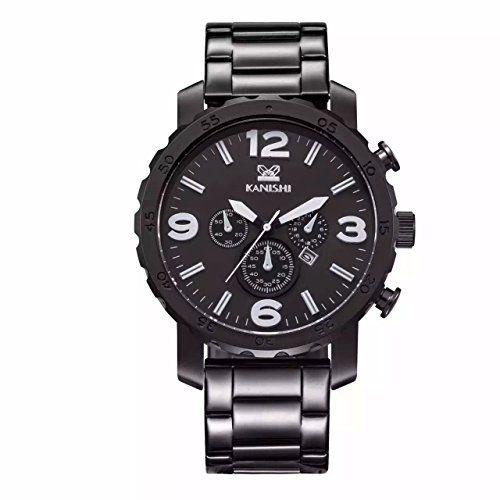 MapofBeauty Herren edelstahl Stahl Uhrenarmband Analoges Quarzwerk rund Modisch und Stilvoll Uhren (Schwarz Uhrenarmband / Schwarz Zifferbltter) - http://uhr.haus/mapofbeauty/mapofbeauty-herren-edelstahl-stahl-analoges-und-4