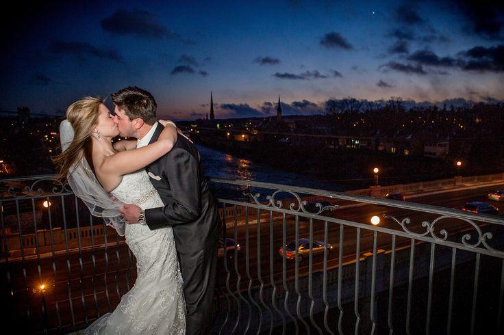 Cambridge Mill, Evening, Balcony, Lace dress, mermaid dress, unique, Cambridge, Ontario, Canada wedding photography experts | Anne Edgar Photography