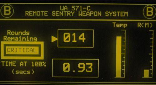 Aliens (1986). Remote Sentry Weapon System UI. #FUI #UI