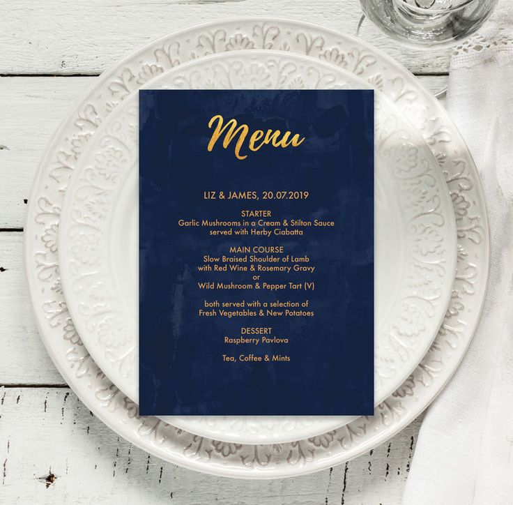 From our stunning collection of navy / midnight blue and gold modern wedding invites, invitations, information / enclosure cards, RSVP / reply cards, table names and numbers and stationery. With a faux-foil finish and a modern calligraphy / brush lettering effect. Printable PDF or Printed & Delivered