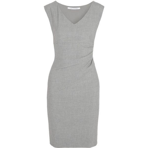Diane von Furstenberg Bevin ruched stretch-jersey dress (€145) ❤ liked on Polyvore featuring dresses, short dresses, grey, vestidos, ruched dress, grey dress, diane von furstenberg dress, side ruched dress and short grey dress