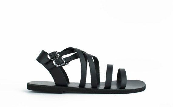 Los hombres negro sandalias cuero para hombre sandalias