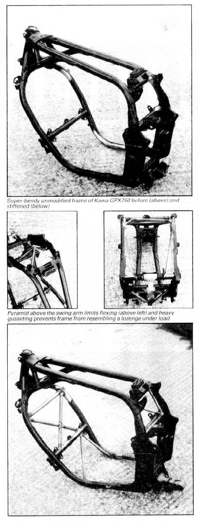 Tony Foale Designs, article on stiffening standard motorcycle frames.