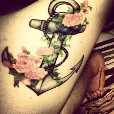 Image result for small tattoo anchor with flowers