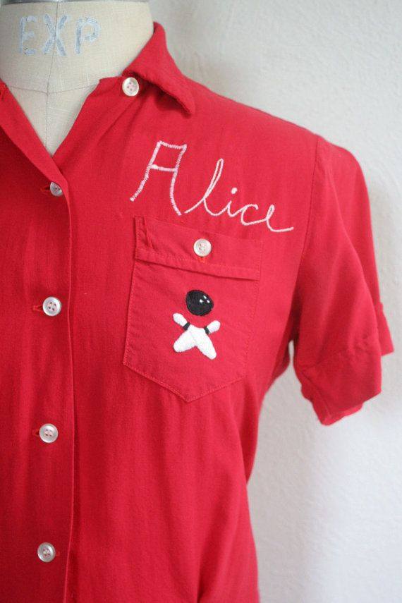 vintage bowling shirt / ladies bowling shirt / 1950s by dingaling