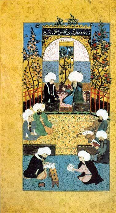 """Der große Poet Baki im Dichterkreis Einer der wichtigsten osmanischen Poeten höfischer Lyrik im 16. Jh. war Baki (1526-1600). Er zeichnete sich durch einen kunstvollen Schreibstil aus und wurde zu Lebzeiten """"König der Dichter"""" genannt."""