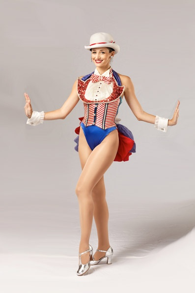 "The ""Red, White,  Blue Proof"" costume is a patriotic look designed by Frank Spencer and was introduced by the Rockettes in 1981.  #rockette #NYC #costumes #dancers #glamorous #redwhiteandblue #red #white #blue #tophat #patriotic #bowtie"
