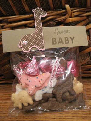 Cute favor for baby shower, animal crackers with those yummy pink and white circus animal crackers!! This is perfect!