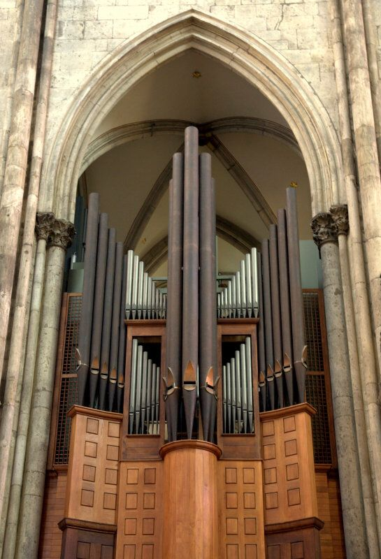Beautiful contemporary design of the transept organ in Cologne Cathedral, Germany, built in 1948