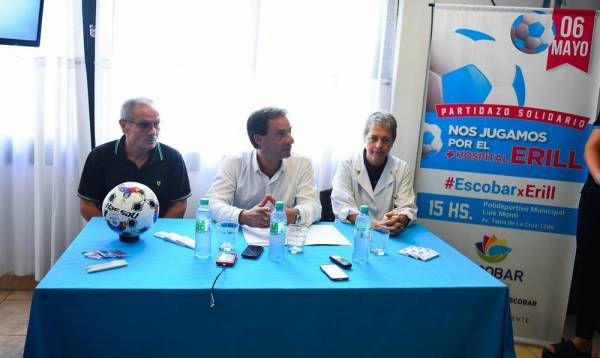 Escobar presentó el partido a beneficio del Hospital Erill que disputarán ex futbolistas y artistas el sábado 6 de mayo