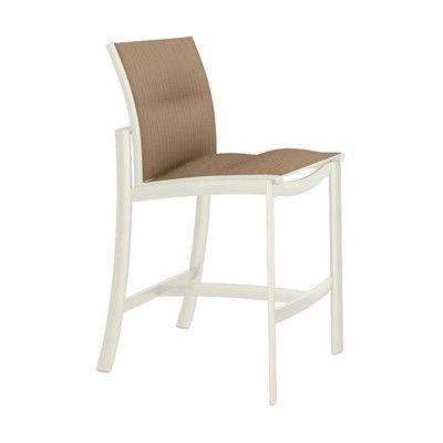 "Tropitone KOR 28"" Bar Stool Seat Color: East Wood, Frame Finish: Parchment"