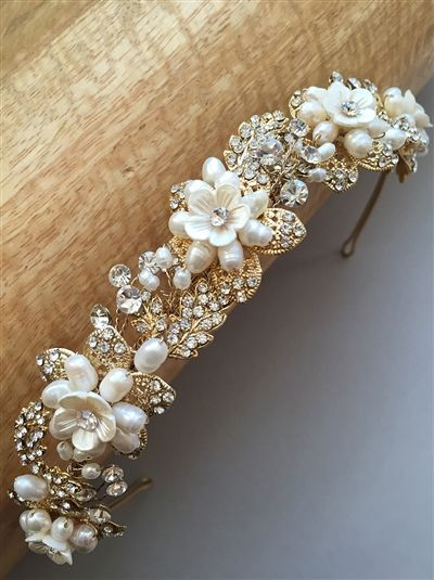 Pearl & Gold Leaf Bridal Headband. Amazing hand-crafted bridal headpiece with freshwater pearls.