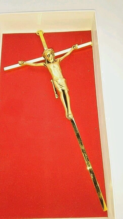 "24k Gold Plated Brass Crucifix w Corpus 10"" Jesus Christian Catholic Funeral"