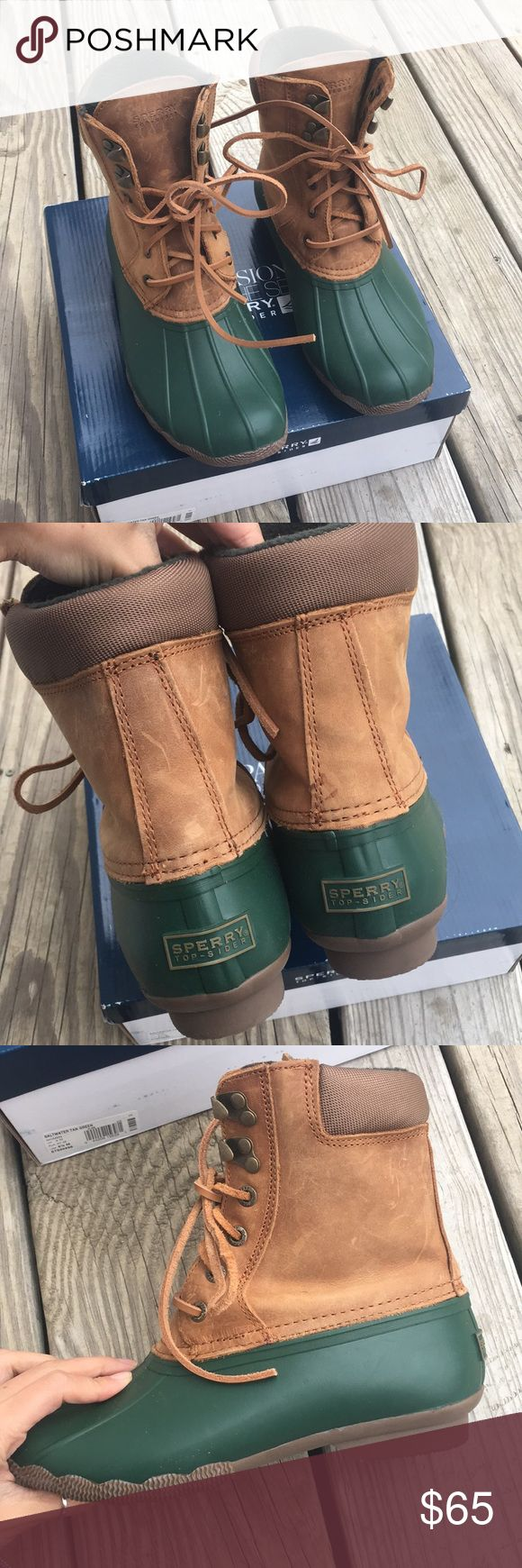 """Sperry Shearwater Waterproof Tan/Green Duck Boots Worn a couple of times. Very comfy and stylish. I wear a women's 6 and these fit with thick socks. Scratches on the leather. The box that I have says """"saltwater, 6.5"""" but they're not. Using this box to ship the shearwaters because I don't have the original box to it anymore.  Microfleece lining, a padded collar, and a siped, lugged sole provide warmth and superior traction. 6 1/2"""" bootie shaft.  Lace-up style.  Rawhide laces. Sperry Shoes…"""
