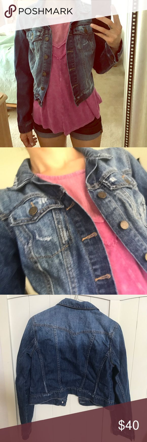 Jessica Simpson Jean Jacket Distressed look, worn once, 100% cotton and lightweight. Junior size small. Jackets & Coats Jean Jackets