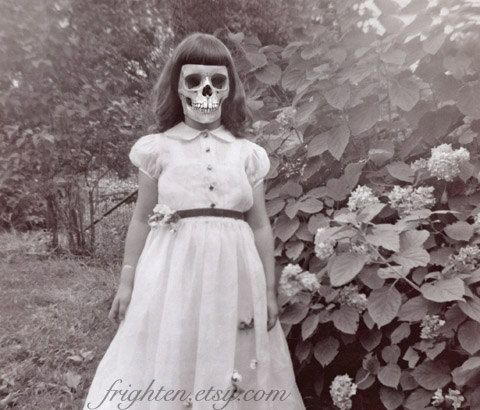 Creepy Girl with Skull Face Art Print Princess Altered by frighten, $25.00