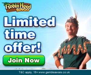 Robin Hood Bingo  Special Limited Offer Add £10 Use Code VIP Get £25 Free And £9 Extra Free In Bingo Cards The Direct Link For This Exclusive Limited Offer Is http://bit.ly/1hKeCKc Or More Info At http://www.initto-winit.com/bingo/robin-hood-bingo/ www.initto-winit.com The Specialists In Free Play Games, Bonus Codes And The Best Gaming Offers Online!