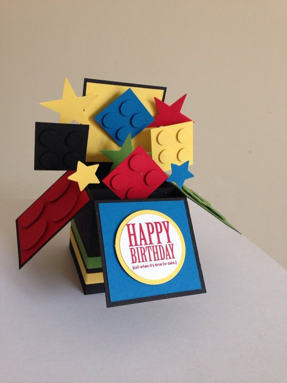 Handmade Lego card kids lego fun card in a box por Deeshandcrafted
