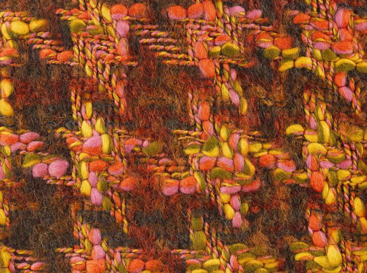 MAPLE WOOL SAMPLE, 1961. Double cloth houndstooth fabric, woven in multiply wool slub and space-dyed brushed mohair and worsted and polyester, in yellow, pink, orange and light and dark brown.