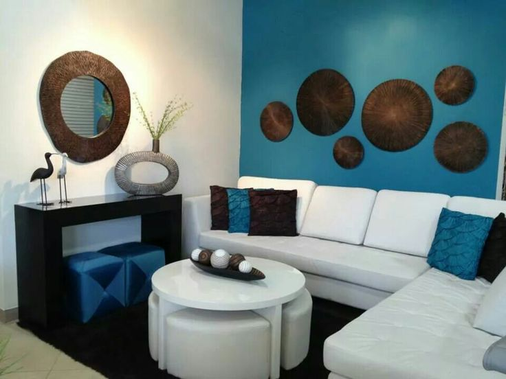 White, Turquoise And Brown Living Room