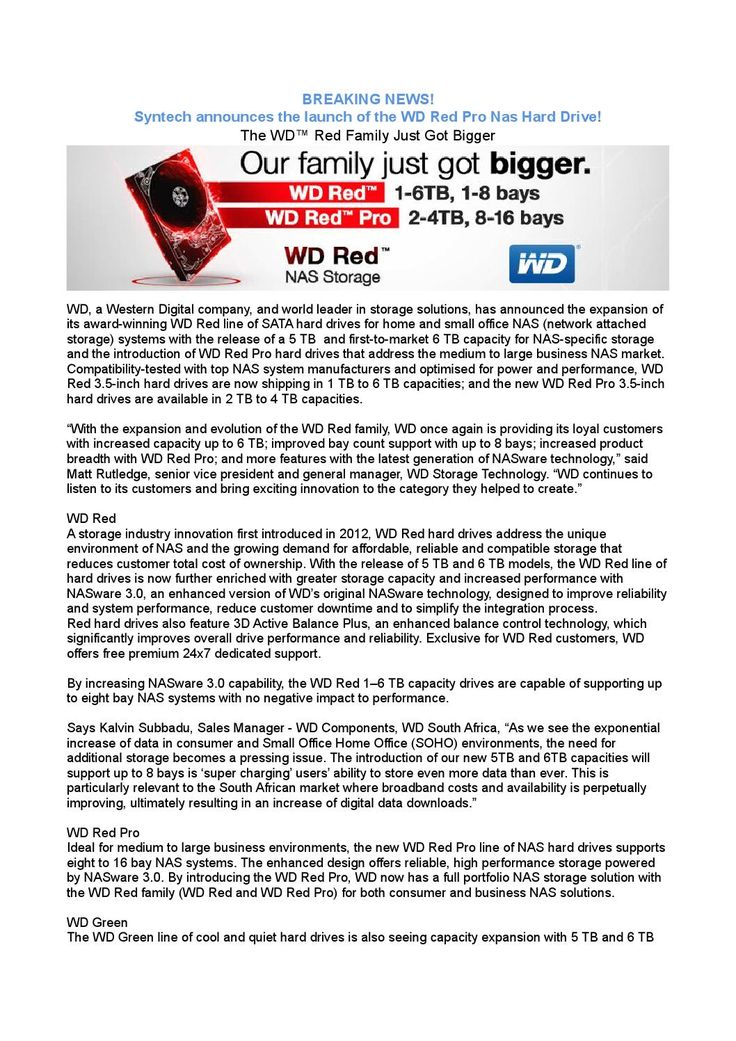 Syntech Announces the WD Red Pro