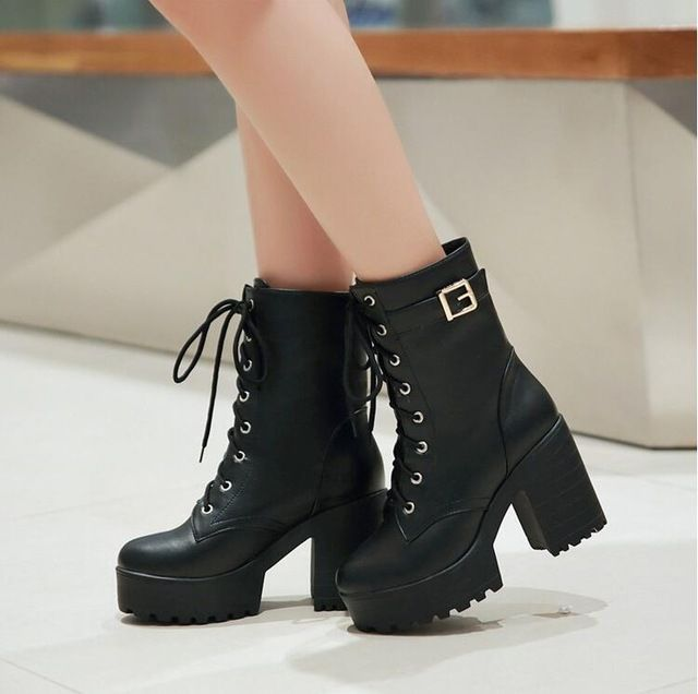 2015 New Winter Women Black High Heel Martin Boots Buckle Gothic Punk Ankle Motorcycle Combat Boots Shoes Free Shipping 34-43