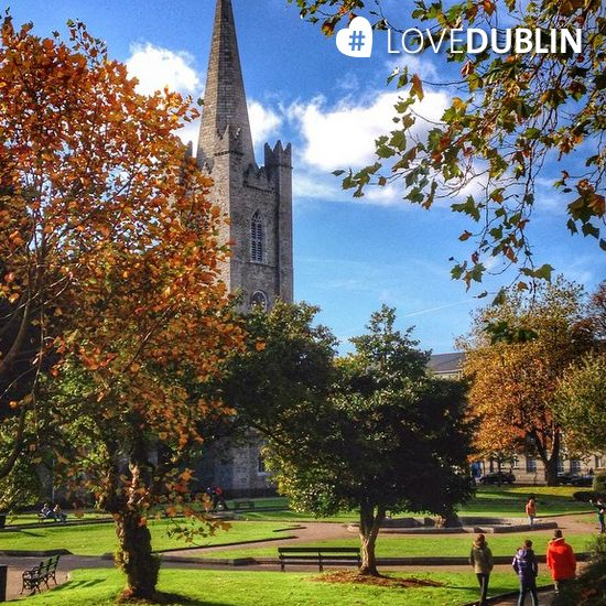 St. Patrick's Cathedral emerging from the foliage. A lovely shot taken by @mydestinationdublin http://bit.ly/1g23YAo #LoveDublin