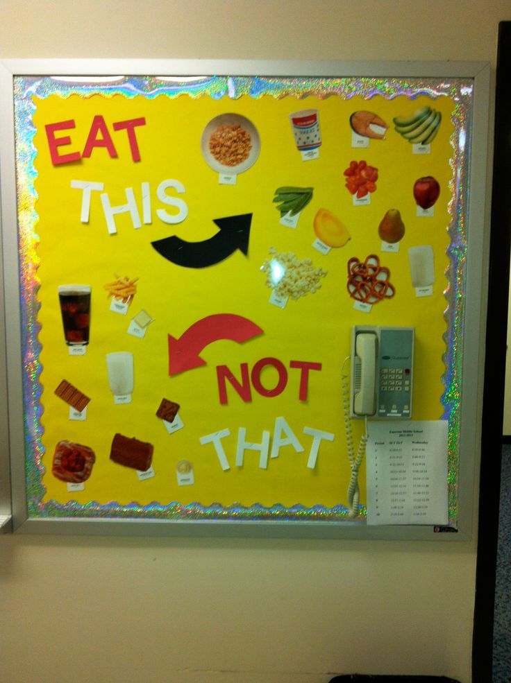 "FACS classroom bulletin board on ""eat this, not that""."
