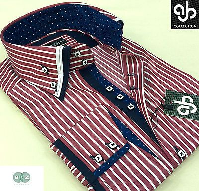 New Mens Smart Casual Red & White Double Collar Italian Design Slim Fit Shirt
