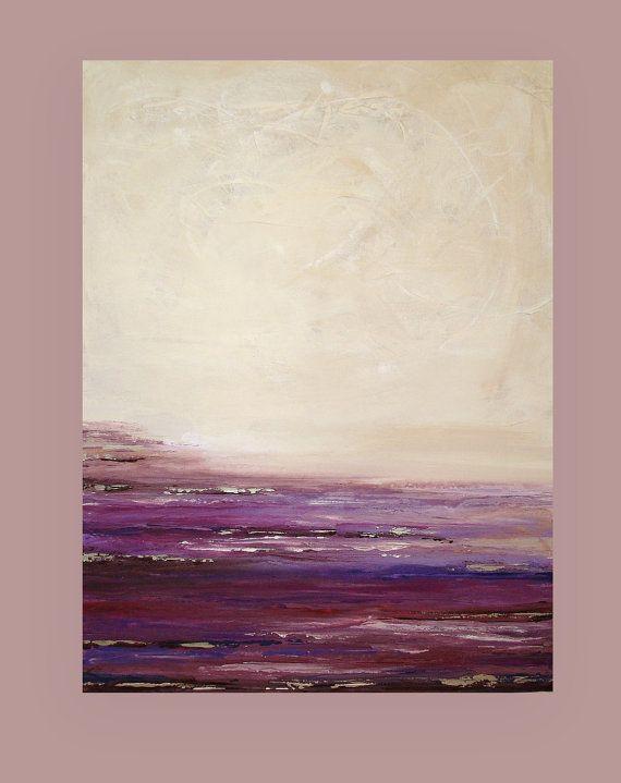 "Acrylic Abstract Painting, Fine Art, Painting on Gallery Canvas, Abstract Seascape by Ora Birenbaum SUGARPLUM 2 30x40x1.5"""
