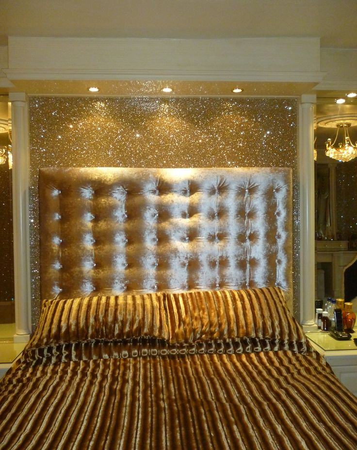 gold glitter wallpaper with our padded double headboard