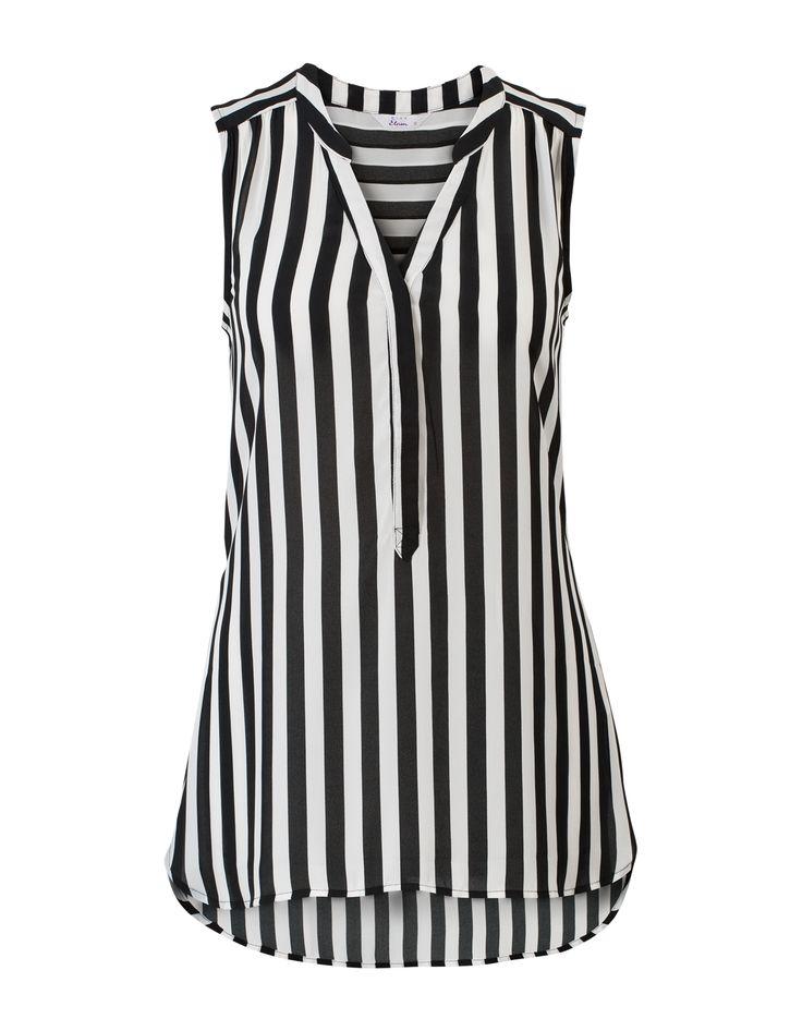 Zwart-wit gestreepte blouse zonder mouwen met een V-hals.  #missetam