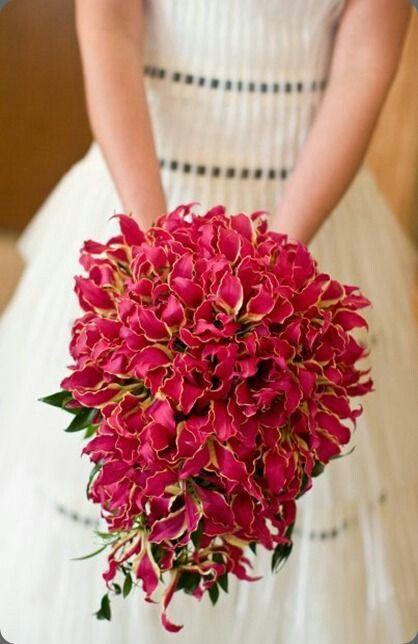 Teardrop/Cascade Wedding Bouquet Arranged With: Hot Pink Gloriosa Lilies