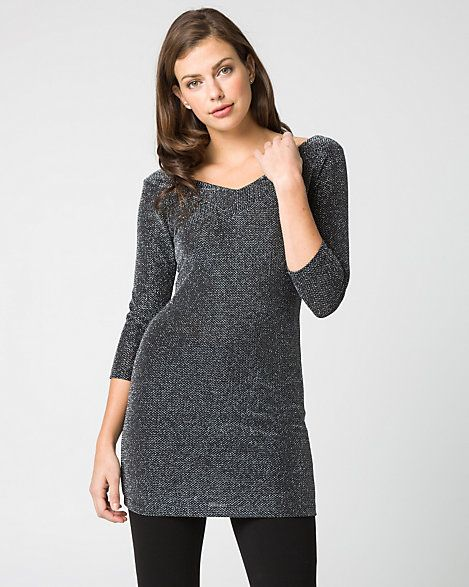 Lurex+Knit+V-Neck+Tunic+Top