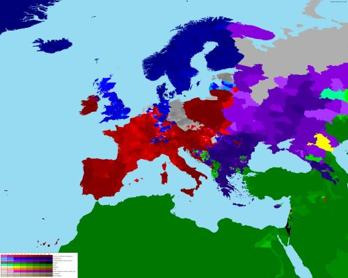 Religion map of Europe. Related: World Religion Map