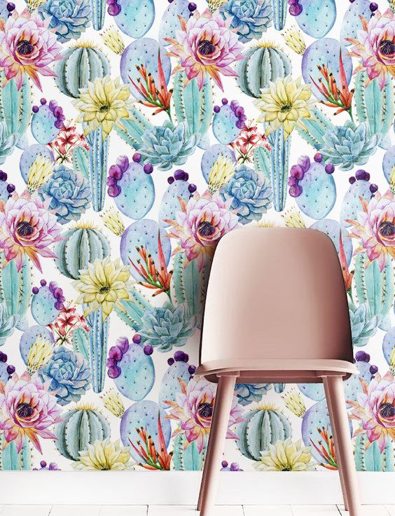 ▼▲▼ Inspired by Nature! ▼▲▼  Doll up your space with our magnificent, removable watercolour cactus -patterned self-adhesive wallpaper. Our bold and