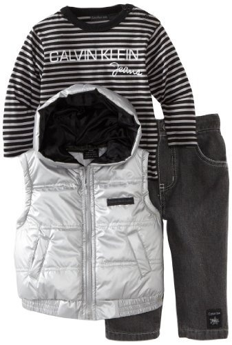 Calvin Klein Baby Boys Infant Vest With Long Sleeve Tee And Pant Gray 24 Months Calvin Klein Winter Baby Clothes Calvin Klein Baby Baby Boy Outfits