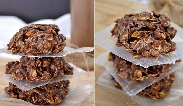 Nepečené čokoládové sušenky s vločkami a arašídovým máslem