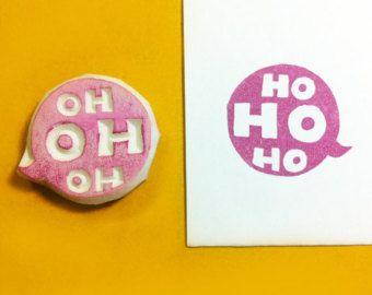 Hohoho Stamp - sello de Navidad sello de vacaciones, Navidad sello, sello hohoho, handcarved stamp, sello tallado mano