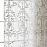 French Romatic Crochet Lace Cutwork Embroidery Net Curtain Tap Panel Damask Soft  – House front