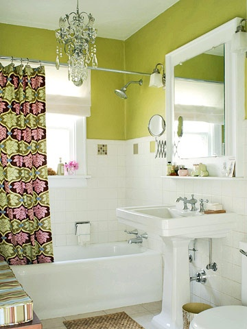 A vintage white bathroom gets an update with apple green walls  Green is  paired with. 17 Best images about Ideas for yellow and grey bathroom redo on