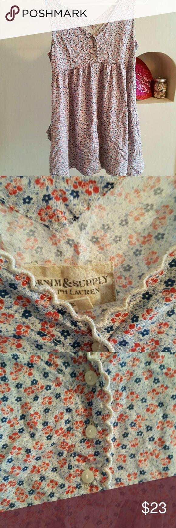 Sun dress with pockets Ralph Lauren Floral Excellent condition. Demin Supply co. By Ralph lauren. Size medium. Ralph Lauren Dresses