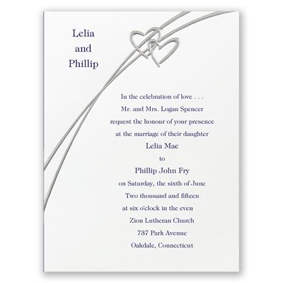 Silver Embossed Hearts Sweetly Highlight Your Names At The Top Of This Non Folding Wedding Invitationsat