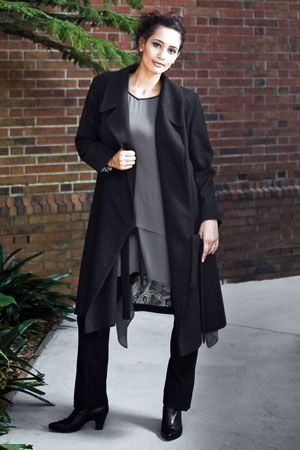 A snappy unit for day or evening. The warm-as-toast Motto wool coat is paired with Diane Burkhardt designed Shani tunic. For a lean leg look try the Kerr pant and Hindi ankle boot.
