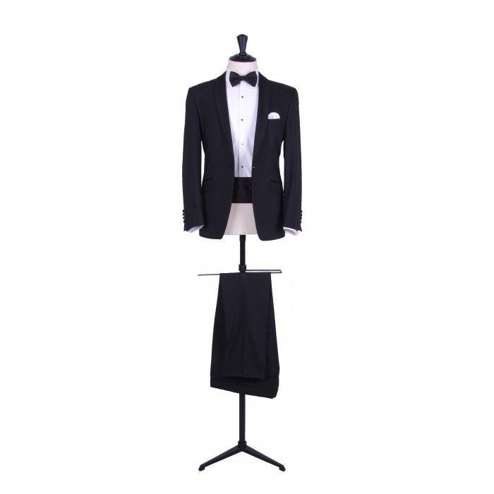 Grooms black slim fit shawl collar dinner suit / tuxedo