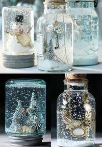Schneegläser selbstgemacht... Glyzerin aus der Apotheke, Glitzer, Destilliertes Wasser, Heißkleber, Figuren etc.