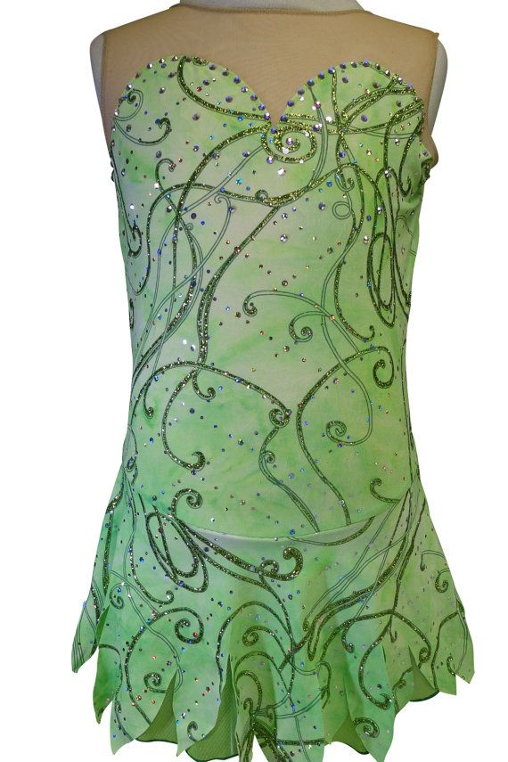 Tinkerbell Figure Skating Competition Dress /Ice Skating Competition Dress