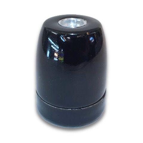 Portalámparas E27 porcelana negro  #lamparas #montar #fabricar #decoracion #accesorios #piezas
